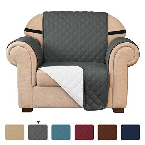 subrtex Gesteppt Sofabezug Reversibel Möbelschutz mit Gummiband(1 Sitzer, Grau)