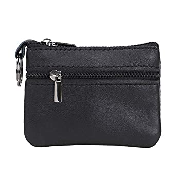 CNHUALAI Genuine Leather Coin Purses Mens Women Leather Zipper Coin Purse Pouch Slim Change Credit Card Holder Slim Wallet Key Holder Change Pouch Small Wallet black