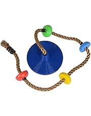happypie Columpio para colgar en el exterior con plataforma, juego de columpio de instalación rápida, accesorios incluidos (azul)