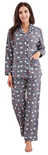 Richie House Women's Printed Flannel Two-Piece Set Pajama RHW2774-B-M Grey