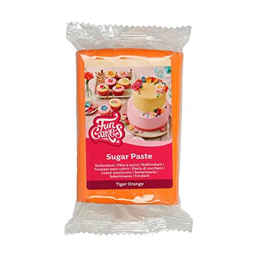 FunCakes Pasta di Zucchero Tiger Orange: facile da usare, liscia, flessibile, morbida e pieghevole, perfetta per decorare torte, halal, kosher e senza glutine. 250 gr