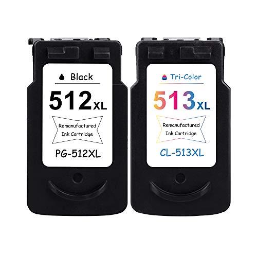 LEBOK Remanufactured PG512 XL CL513 XL - Cartuchos de tinta de repuesto para Canon PG-512 CL-513 para impresora Canon Pixma MP230, MP258, MP282, MX320, MX410, MP480, iP2700, combo 1 negro 1 tricolor