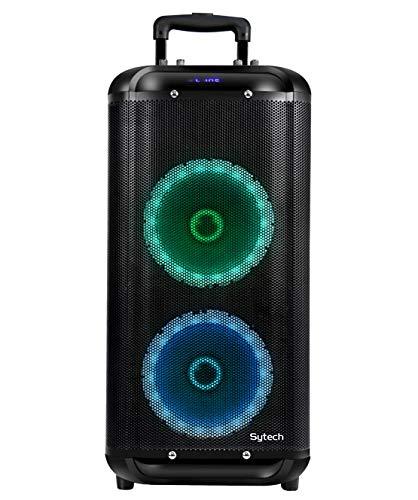 Sytech - SY-XTR56BT - Altavoz Fiesta Profesional. Portátil e inalámbrico, batería Recargable 4000 mAh. con micrófono y Radio FM. Función TWS. Efectos Gyro LED. Tecnología Bluetooth. Potencia 2000W