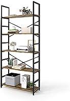 Magic Life Bookshelf, Industrial Bookcase, 5-Tier Wooden Storage Shelf with Metal Frame for Living Room, Bedroom,...