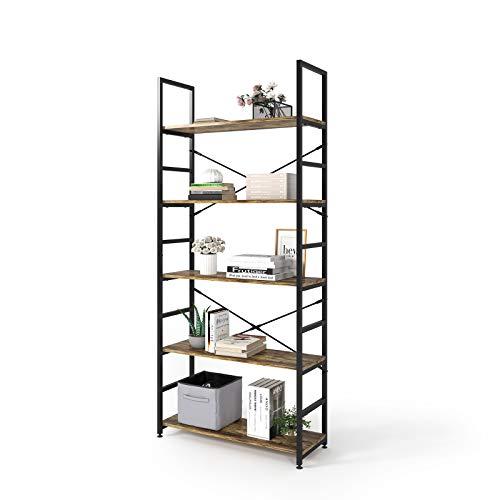 Magic Life Estantería industrial de 5 niveles de madera con marco de metal para salón, dormitorio, pasillo, oficina, fácil de montar, color marrón rústico