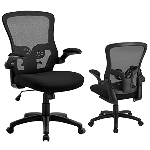 Office Chair Ergonomic Desk Chair - Mesh Adjustable Lumbar Support, Mid-Back Swivel Computer Chair with Flip-up Armrests, Executive Swivel Chair, Load up to 300Lbs, Black