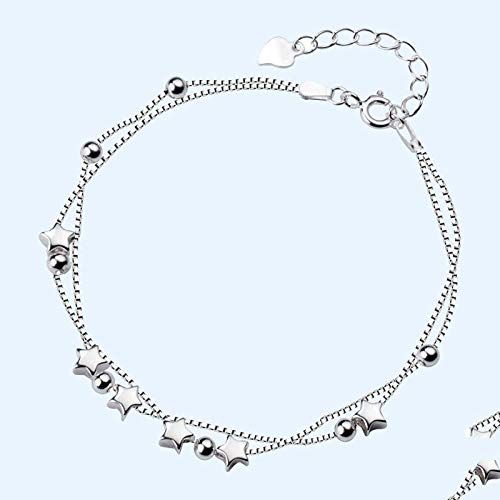 BENGKUI Women'S 925 Sterling Silver Bracelet,Fashion Cute Double Layer Star Beads Bracelet For Women Wedding Silver 925 Jewelry For Women Birthday Gifts For Mum Wife