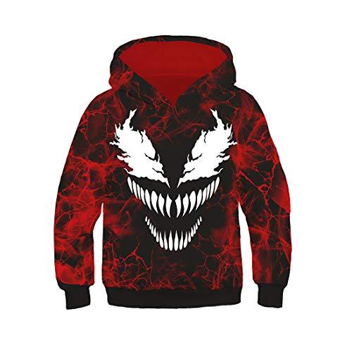 YXB Sudadera con Capucha De Superhéroe Venom Gwen Stacy Spider-Man Sudadera Deportiva con Capucha Chaqueta De Moda para Hombre Adecuada para Aprender Y Jugar(Color:Veneno Rojo,Size:S)