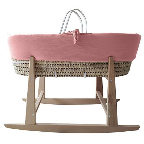 Moisés bebé de palma para recién nacido. Capazo mimbre, cesta bebé con vestiduras y balancín. Capazo bebé textiles (Rosa Bambula)