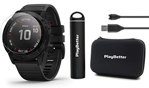 Purchase Garmin Fenix 6X Pro (Black with Black Band) Power Bundle with HD Screen Protectors, PlayBet...