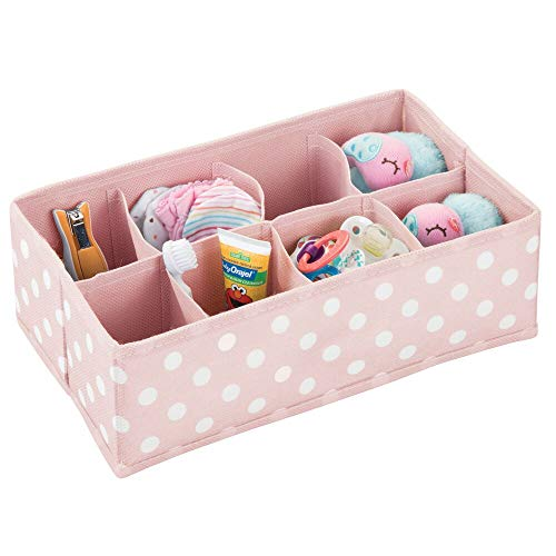 mDesign Organizer per armadio a pois – Contenitore per cameretta, bagno, camera da letto ecc. – Portaoggetti bimbo con 8 scomparti in fibra sintetica – rosa/bianco