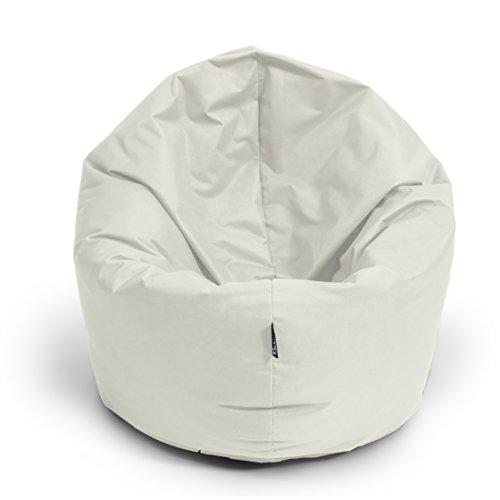 BuBiBag Sitzsack 2-in-1 Funktionen mit Füllung Sitzkissen Bodenkissen Kissen Sessel BeanBag (100 cm Durchmesser, beige)