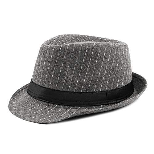 Canness Fedora-Hut mit Breiter Krempe Retro Jazzhut Fedora Trilby-Hüte for Männer Baumwolle gemischte weiche Elegante Filzkappe Männer Frauen Panama Hut (Color : Gray, Size : 56-58cm)