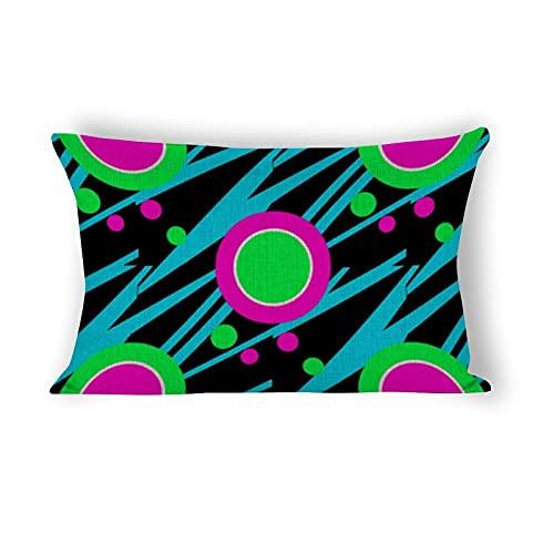Funda de almohada de 50,8 x 76,2 cm, diseño retro abstracto de lunares decorativos de algodón y lino, funda de almohada lumbar para sofá, ropa de cama, coche y decoración del hogar