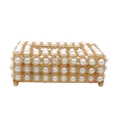 Non-brand Lujosa Cubierta de Caja de Pañuelos de Perlas de Simulación de Metal Creativo para Tocador, Tocadores de Dormitorio, Escritorios de Cocina