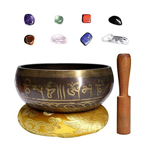 Holzsammlung 3.1'(8.0cm) Bol chantant tibétain et ensemble de cristaux de pierres de guérison Chakra - Bol sonore de méditation fabriqué à la main au Népal pour la pleine conscience