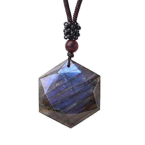 Six Pointed Star Labradorite Pendant Natural Crystal Energy Gemstone Couple Necklace Gift