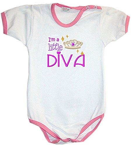Zigozago - Body Bèbè à Manches Courtes pour bébé avec Broderie I'm A Little Diva Taille: 3-6 Mois - Couleur: Rose - 100% Coton