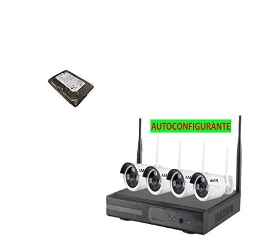 Kit Wireless WiFi VIDEOSORVEGLIANZA Professionale AMN Sicurezza AHD DVR Full HD 4 TELECAMERE Hard Disk Incluso 320GB Registrazione 6GG (SOVRASCRIVE in Automatico)