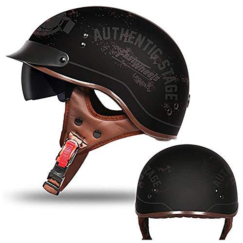 ZOLOP Retro Motorradhelm Halbhelm, Harley Cruiser MOTO Jet-Helm, Integrierte Sonnenblende DOT-zertifiziert, Oldtimer Schwarz Matt Jethelm (Gläser, XL)