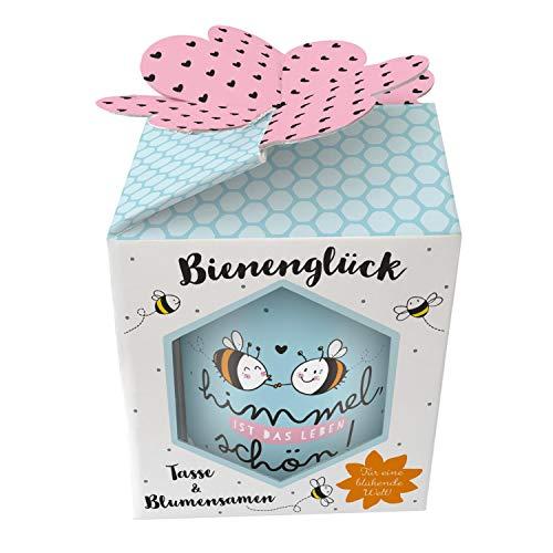 Sheepworld Geschenkewelt 46558 XL Becher mit Spruch Himmel ist das Leben schön, mit Wildblumen-Samen und Geschenk-Box Tasse, Porzellan
