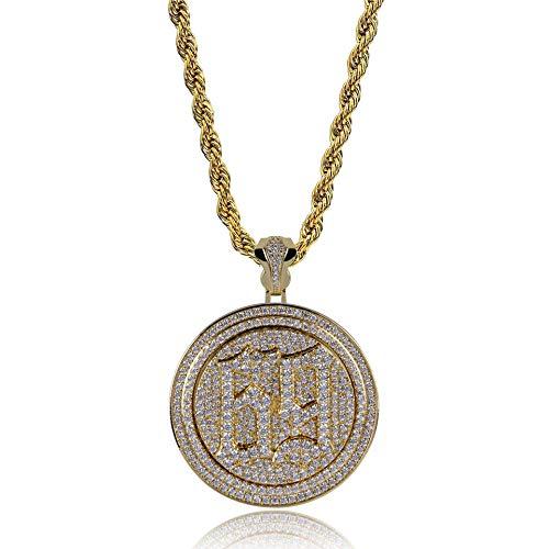 LC8 Jewelry - Collar con colgante de cadena para hombre, diseño de hiphop 69 de circonitas cúbicas y cadena de 61 cm