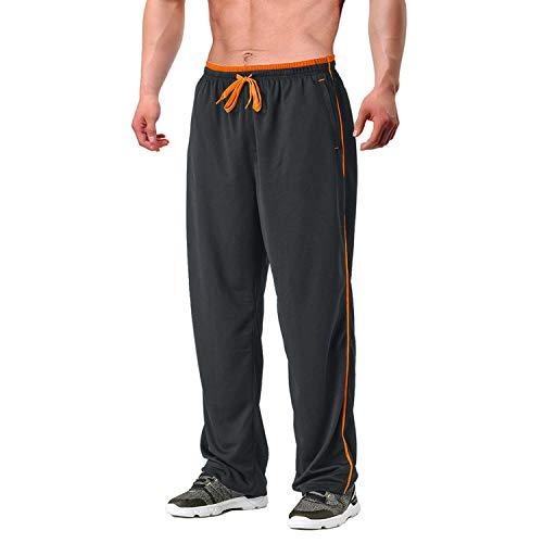 EKLENTSON Herren Sweatwear Sweathose Lange Loose Fit Casual Freizeithose mit Gummizug und Kordelzug, Grau Orange