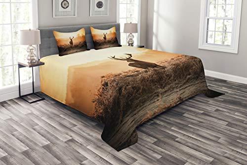 ABAKUHAUS Jagd Tagesdecke Set, Deer Morning Sun, Set mit Kissenbezügen Waschbar, für Doppelbetten 220 x 220 cm, Orange Braun