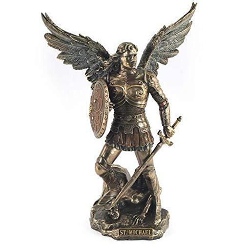 CAPRILO Figura Decorativo de Resina Arcangel San Miguel. Adornos y Esculturas. Regalos Originales. Decoración Hogar. 24 x 17 x 12 cm.