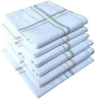 GRH White subtle colour 100% Cotton Handkerchief For Men