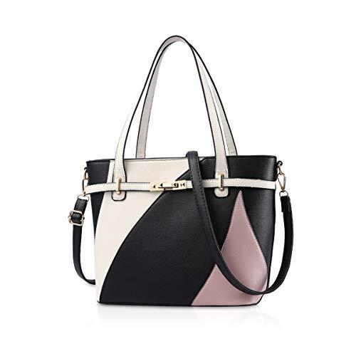 NICOLE & DORIS dames handtas shopper handtas zwart meerkleurig tas tas met lange schouderriemen, zwart (zwart) - ND-1AKC003