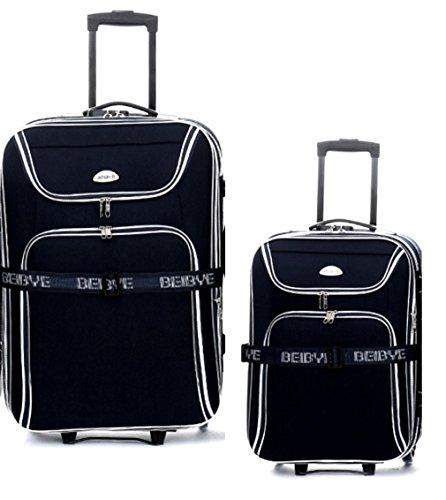 BEIBAY 2 x Trolley-Koffer : Reisetrolley 76cm (110/125Liter) + Kabinentrolley 55 cm (45/50 Liter), Dehnfalte - integr. Zahlenschloss - Farbe: Schwarz