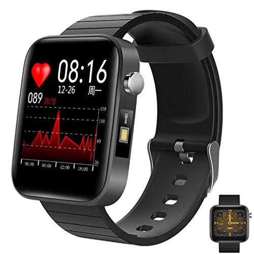 Intelligente Smartwatch,Herren Körpertemperatur Fitness Tracker Des Blutdrucks, Schlaf Automatische Herzfrequenzüberwachung Trainingsschrittschalter, Uhren DIY Vollkalorienschrittschalter,Schwarz