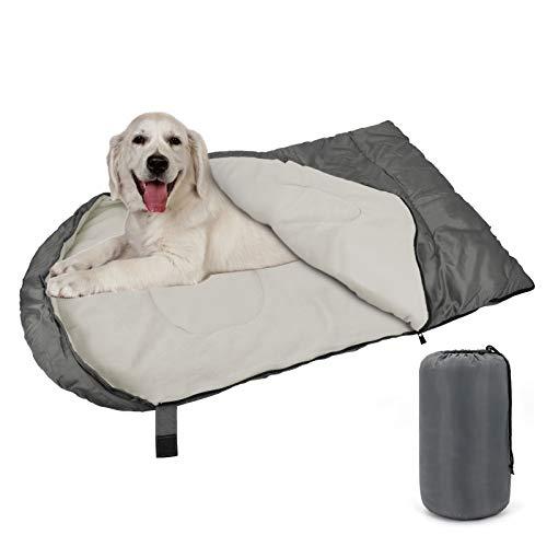Kawuneeche Dog Sleeping Bag Portable Waterproof Dog Bed with Storage Bag for Dog Outdoor Indoor Travel Camping Hiking Backpacking Pet Sleeping Bed (Grey)