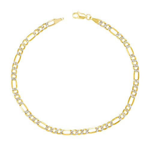 Nuragold 10k Yellow Gold Solid 4mm Figaro Chain Link Diamond Cut Pave Two Tone Bracelet, Womens Mens Lobster Lock 7' 7.5' 8' 8.5' 9'