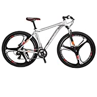 Eurobike Mountain Bike 29 inch Wheel 19 inch Aluminium Frame Adult Mens Bicycle (silver)