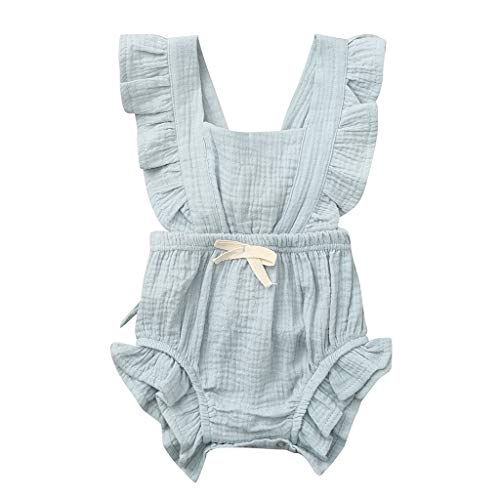 WEUIE Newborn Baby Girl Romper Bodysuit Ruffle Bowknot One-Piece Jumpsuit Outfit Clothes Summer 0-24M Green