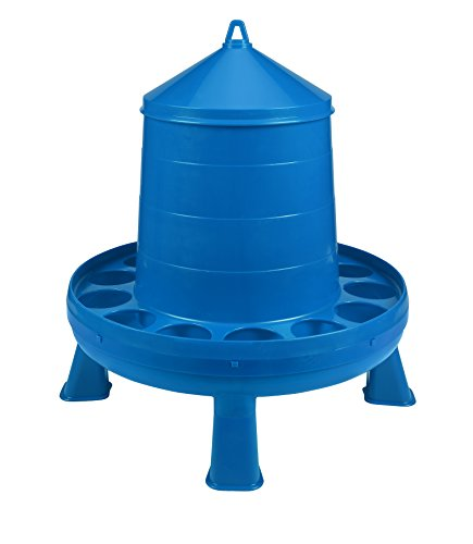 Poultry Feeder with Legs (Blue) - Durable Feeding Container with Carrying Handle for Chickens & Birds (26 Lb) (Item No. DT9877)