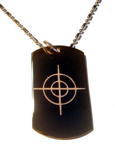 Target Bullseye Gun Scope Hunt Hunting Logo Symbols - Military Dog Tag Luggage Tag Key Chain Metal Chain Necklace