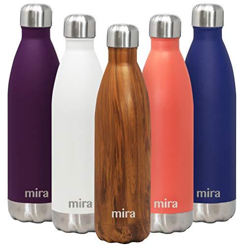 MIRA- Botella de agua de acero inoxidable aislada al vacío, con doble pared a prueba de fugas, mantiene las bebidas frías 24 horas o calientes 12 horas, 750 ml.