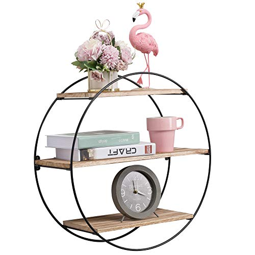 KAThome 4U Floating Shelves Wall Mounted, 3 Tier Geometric Round Wall Shelves Decorative Wood and Metal Hanging Shelf,Rustic Decorative Wall Shelf for Bedroom, Living Room, Bathroom, Kitchen, Office