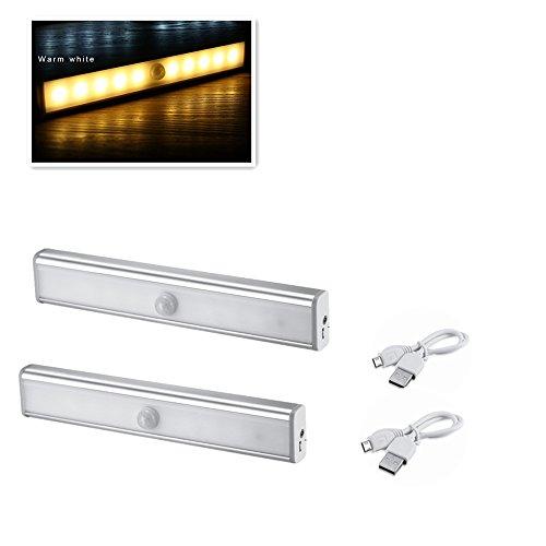 Topschoen Schrankleuchte kabellose Sensor Lampe LED Lichtleiste Schranklampe mit Bewegungsmelder USB wiederaufladbar Schranklicht für Schublade,Treppen,Schlafzimmer,Küche,Kinderzimmer, 2er Pack