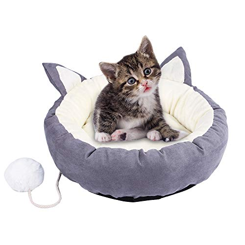 soundwinds Haustierbett Katzenbett rund weich Schlafmatte Bett waschbar Decke Kissen Bett Winter Warm Nest Höhle Haus Haustier Sofa Bett für Katze Kätzchen Welpen und andere kleine Tiere