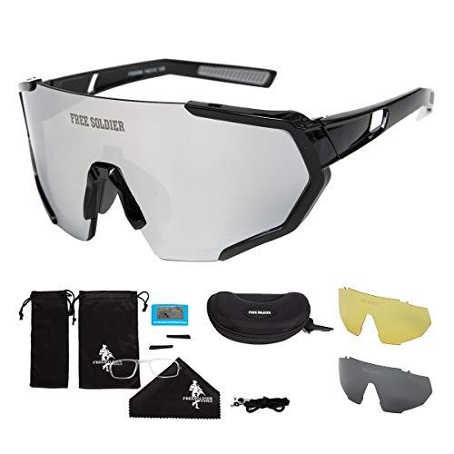 FREE SOLDIER Polarisierte Sport Sonnenbrille mit 3 Wechselgläsern für Herren Damen Fahrradbrille UV400 Leichte Rennrad Brille Beim Reiten Wandern Segeln Angeln Fahren Golf(Schwarzer + Silbergrau)