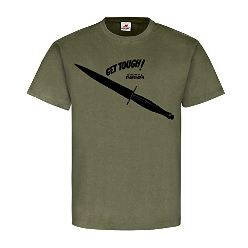 Get Tough F-S Fighting Knife Book Knife Major Fairbairn Commando Army England Defendu Knife Combat T-Shirt #18849 - Green - Small