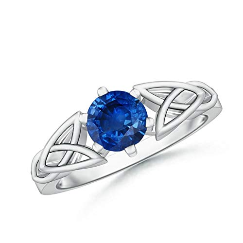 Solitaire Round Sapphire Celtic Knot Ring in Platinum (6mm Blue Sapphire)