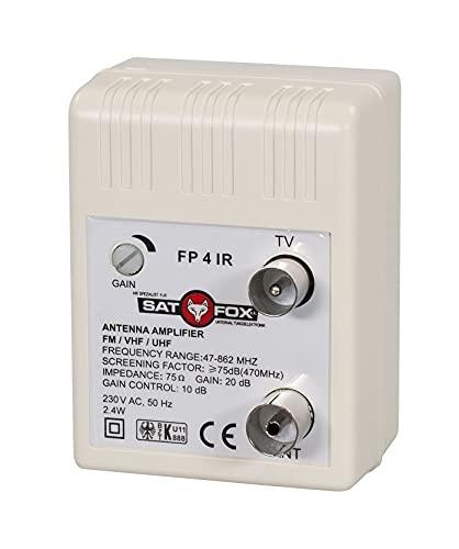 Amplificador de antena (47-862 MHz) para televisión por cable DVB-C, DVB-T, amplificación...