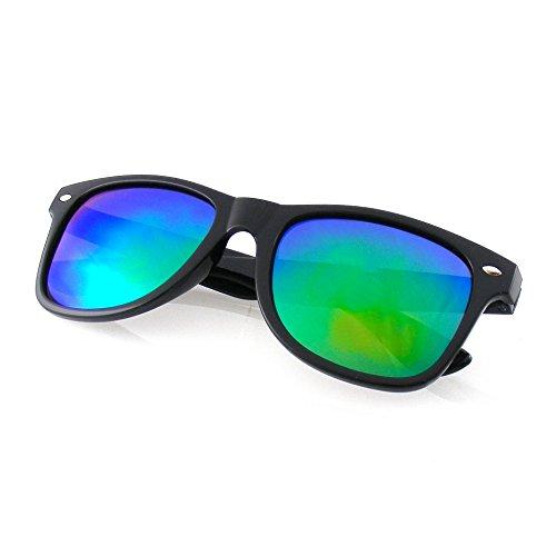 Emblem Eyewear - Negro Flash Espejo Polarizados Llanta Cuernos Gafas De Sol (Verde)