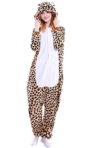 YAOMEI Adulto Unisexo Onesies Kigurumi Pijamas, Mujer Hombres Traje Disfraz Animal Pyjamas, Ropa de Dormir Halloween Cosplay Navidad Animales de Vestuario (XL, Leopardo)