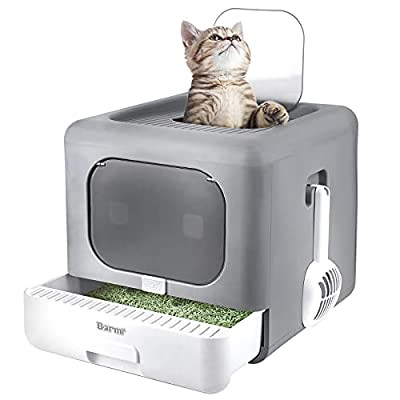 BARMI Cat Litter Box Foldable Top Entry Litter Box with Cat Litter Scoop Drawer for Medium and Large Cats